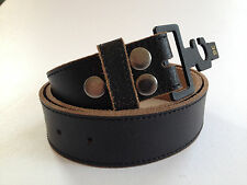 New Quality Genuine Leather Black Stitched Distressed Snap On Belt - No Buckle