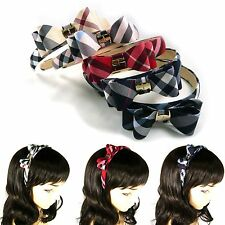 Plaid Bow Headband Grid Hairband Tartan Piece Check Hair Accessory Gossip Girl