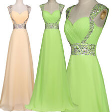 Beaded Long Chiffon Evening Formal Party Dresses Bridesmaid Prom Gown PLUS SIZE