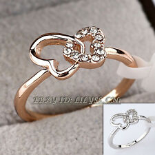 Fashion Love Hearts Butterfly Ring 18KGP CZ Rhinestone Crystal Size 5.5-9