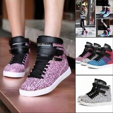 Athletic Girls Lace Up Casual Shoes High Top Wedge Heel Boots Fashion Sneakers