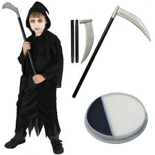 CHILDS GRIM REAPER COSTUME ADD SCYTHE AND FACE PAINT DEATH HALLOWEEN FANCY DRESS