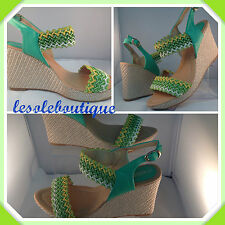 LADIES WOMENS STUNNING OPEN TOE WEDGE MULTICOLOURED SHOE GREEN YELLOW WHITE