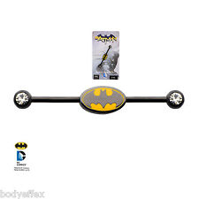 CUTE STAINLESS STEEL DC COMICS LICENSED BATMAN LOGO INDUSTRIAL BARBELL PIERCING