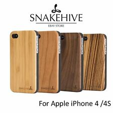 SNAKEHIVE® Real Wooden Back Case Cover for Apple iPhone 4/4S - Natural Wood