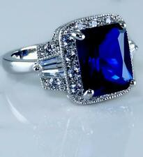 Blue Sapphire Silver Ring Cocktail Sparkling AAA Cubic Zirconia CZ 18KWGP