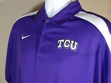 New Nike TCU Horned Frogs Dri Fit Coaches Hot Route Polo Shirt Purple White M