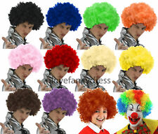6 X AFRO WIG FANCY DRESS CURLY MENS LADIES HAIR FOOTBALL SUPPORTER CHOOSE COLOUR