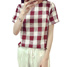 Ladies Round Neck Short Sleeve High Low Hem Plaids Split Sides Casual Top