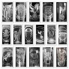 FOOTBALL hand engraved glass ANY EUROPEAN TEAM personalised  Choice of glass
