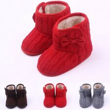 Toddler Baby Boys Girls Knitted Bow Snow Woolen Boots Crib Shoes Soft Sole 0-18M