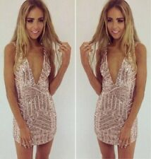 Stunning Sexy Women Plunge V Neck Luxury Sequins Bodycon Cocktail Party Dress C