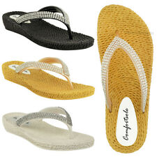 WOMENS LADIES DIAMANTE SUMMER THONG SANDALS LOW HEEL FLAT COMFORT PADDED SIZE