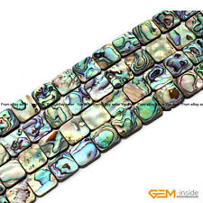 "Natural Square Abalone Shell Flatback Beads For Jewelry Making 15""8mm 10mm 12mm"