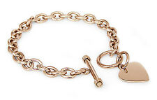 Stainless Steel Rose Gold Plated Engravable Heart Tag Bracelet