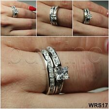 1.8 CT STERLING SILVER 925 PRINCESS CZ VTG ENGAGEMENT WEDDING RING SET WRS17-BT
