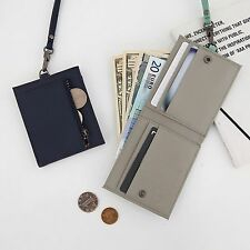 Leather Bifold Neck Lace Strap Wallet Purse Credit ID Card Holder Coin Billfold