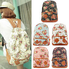 Women Rucksack Canvas Backpack Floral Flower Backpack Travel Backpack School Bag