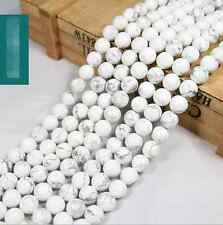 "Natural White Turquoise Gemstone Round Beads 15"" 4mm 6mm 8mm 10mm 12mm"