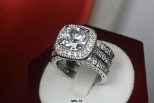 3.4Ct Sterling Silver Engagement & Wedding Ring Set Princess Cut Halo 3 Rings