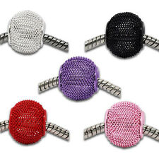Unique 5-20Pcs Mixed Large Mesh Bling Rondelle Ball Big Hole Charms Beads DIY