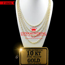 10K AUTHENTIC YELLOW GOLD DIAMOND CUT HALLOW ROPE CHAIN NECKLACE 2MM 18''~26''