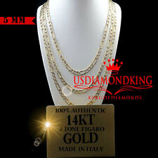 MENS LADIES 14K TWO TONE AUTHENTIC GOLD FIGARO LINK CHAIN NECKLACE 5 MM 24 INCH