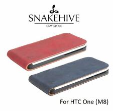 Snakehive® Vintage Nubuck Leather Flip Case Cover for HTC One M8