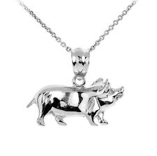 Sterling Silver Charm Pig Pendant Necklace