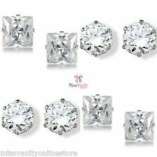 UNISEX CRYSTAL RHINESTONE DIAMANTE STUD EARRINGS PAIR 5, 7 and 9mm + FREE POUCH