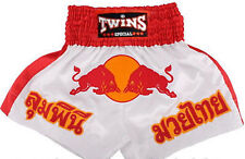 TWINS SPECIAL MUAY THAI BOXING SHORTS Red Bull Kick Boxing Redbull White Red
