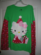 New!! Girls Hello Kitty Green Long Sleeve T-Shirt Christmas Holiday Size L, XL