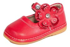 Red w/Flower Mary Jane Toddler Girls Squeaky Shoes, Sizes 3, 4, 5, 6, 7, 8, 9