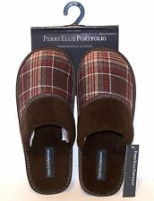 NEW Perry Ellis MENs Size MED, XL Brown Plaid Scuffs Hard Soles SLIPPERS Gift