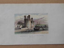 Caernarvon Castle, Eagle's Tower, Wales - antique, hand-coloured print ca 1845