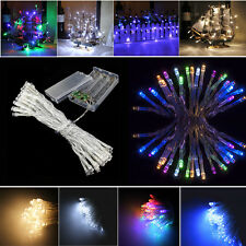Flash/Static 20/40 LED Fairy String Battery Powered Outdoor Indoor Clear Cable