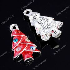 Colorful Enamel Silver Plated Christmas Tree Charm Crystal Pendant Bead Finding