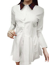 Women Long Sleeves Single Breasted Button Cuffs Casual Shirt Dress