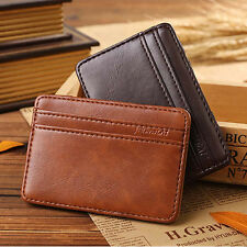 Neutral Mini ID Wallet Credit Card Holder Bifold Wallet Purse Faux Leather