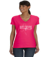 Breast cancer awareness month pink ribbon ladies tee shirt V-neck womans tee