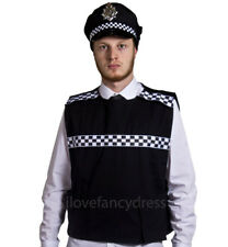 ADULT POLICE COSTUME STAB VEST AND PANDA CAP HAT FANCY DRESS SWAT BRITISH COPPER
