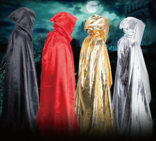 Hooded Long Cloak Cape Medieval Halloween Robe Costume Party Witch Wicca Kids