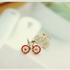Lovely Unique Korean Style Bicycle Design Stud Earrings Rhinestone Inlay Fashion