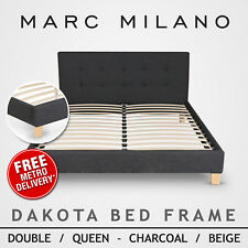 Double, Queen Size Black Or White Pu Leather Bed Frame Luxury Wooden Slat Base