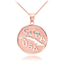 14k Two Tone Solid Rose / White Gold CUBA-USA Medallion Pendant Necklace