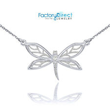 Sterling Silver CZ Dragonfly Butterfly Filigree Necklace