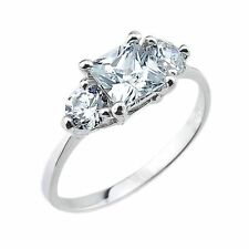 10k White Gold Three-Stone Clear Cubic Zirconia 2.5ct Engagement Wedding Ring