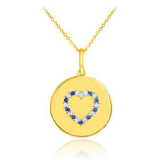 14k Yellow Gold Heart Studded Sapphire & Diamond Disc Pendant Necklace USA Made