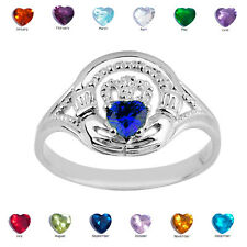 925 Sterling Silver Ladies Claddagh Blue Sapphire September CZ Birthstone Ring