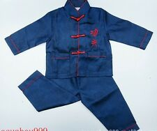 Chinese Boy's silk Kung Fu Shirt Pants Suit blue Size  2 4 6 8 10 12 14 16